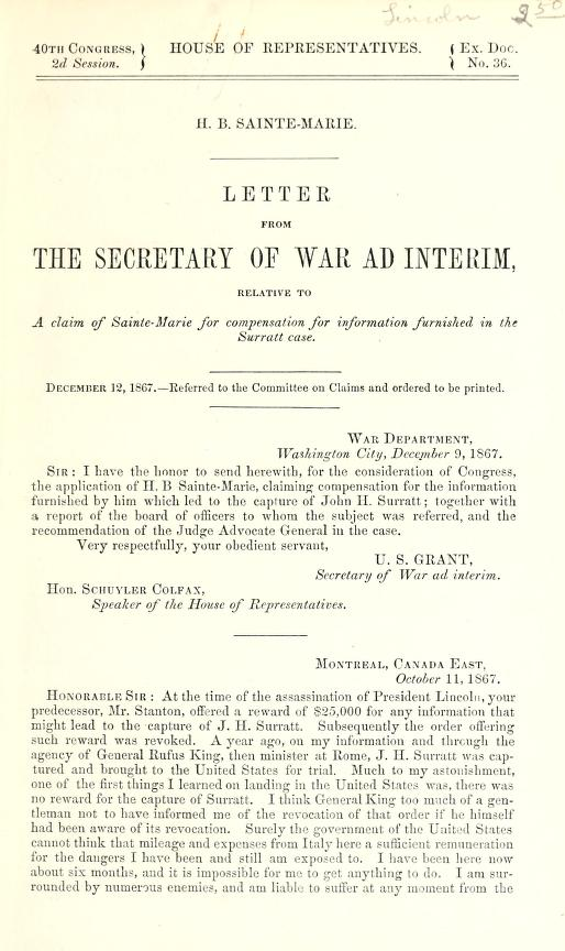 Ulysses S. (Ulysses Simpson) Grant - H.B. Sainte-Marie : letter from the Secretary of War ad interim, relative to a claim of Sainte-Marie for compensation for information furnished in the Surratt case