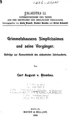 Download Grimmelshausens Simplicissimus und seine vorgänger.