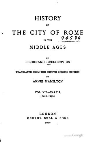 Download History of the city of Rome in the Middle Ages.