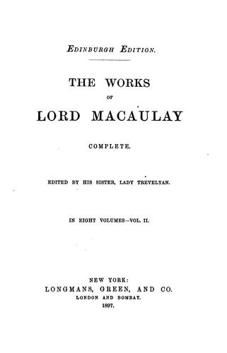 Download The Works of Lord Macauly Vol. II of VIII