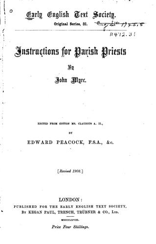 Instructions for parish priests.