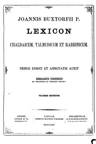 Download Lexicon chaldaicum, talmudicum et rabbinicum …