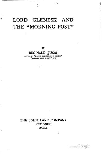 "Download Lord Glenesk and the ""Morning Post"""