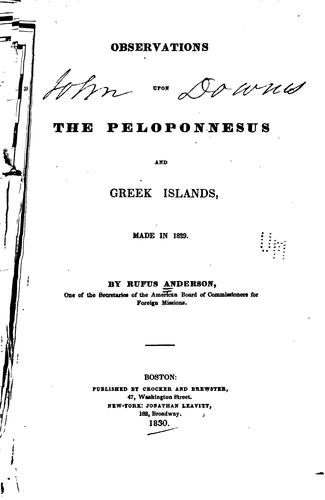 Download Observations upon the Peloponnesus and Greek islands, made in 1829