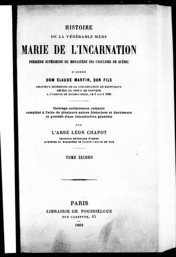 Download Histoire de la vénérable Mère Marie de l'Incarnation