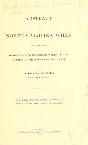 Download Abstract of North Carolina wills