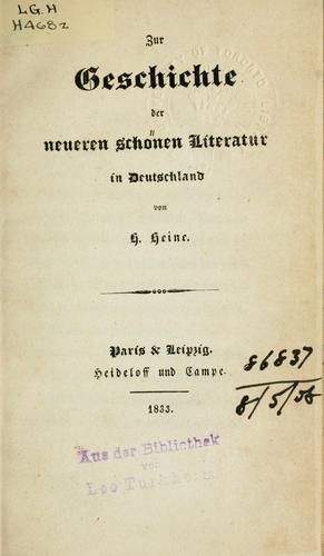 Download Zur Geschichte der neueren schönen Literatur in Deutschland.