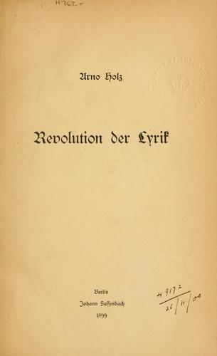 Download Revolution der Lyrik.