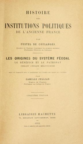 Histoire des institutions politiques de l'ancienne France