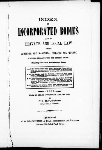 Index to incorporated bodies and to private and local law