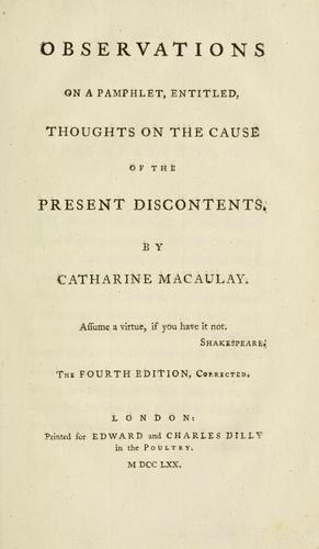 Observations on a pamphlet, entitled, Thoughts on the cause of the present discontents