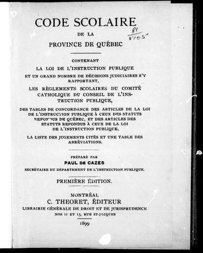Download Code scolaire de la province de Québec