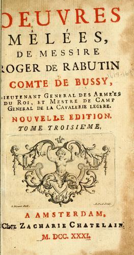 Les memoires de messire Roger de Rabutin, comte de Bussy.