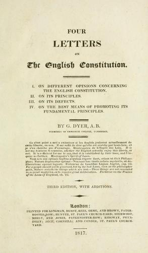 Four letters on the English Constitution