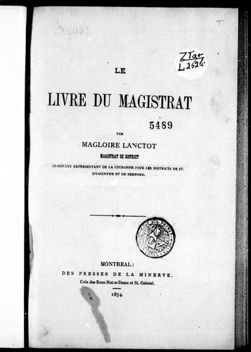 Download Le livre du magistrat