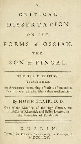 A critical dissertation on the poems of Ossian.
