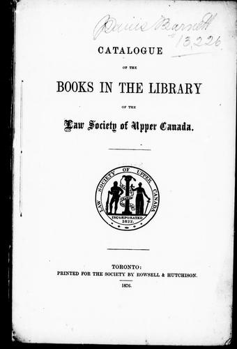 Download Catalogue of the books in the library of the Law Society of Upper Canada