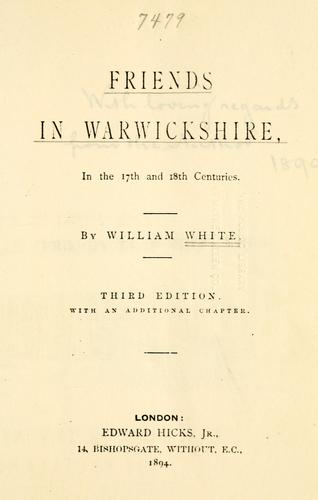 Friends in Warwickshire, in the 17th and 18th centuries