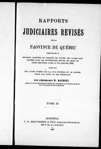 Download Rapports judiciaires révisés de la province de Québec