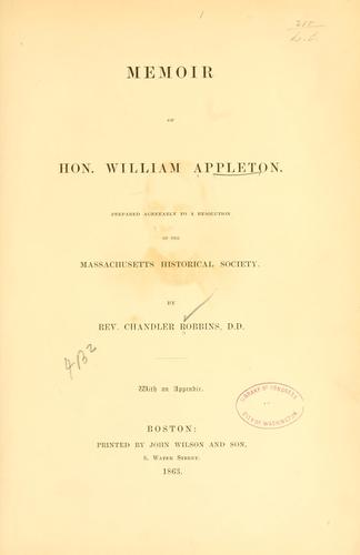 Memoir of Hon. William Appleton.