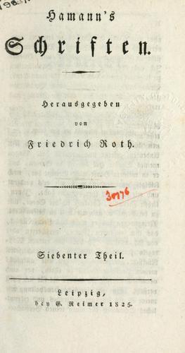 Download Hamann's Schriften.