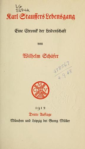 Karl Stauffers Lebensgang