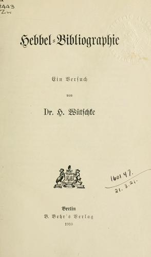 Hebbel-Bibliographie
