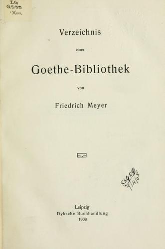 Download Verzeichnis einer Goethe-Bibliothek.