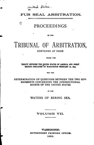 Fur seal abitration by Bering Sea tribunal of arbitration
