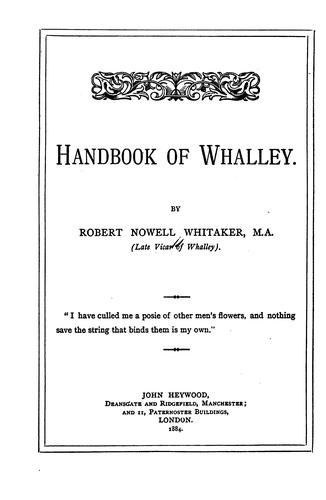 Handbook of Whalley by Robert Nowell Whitaker