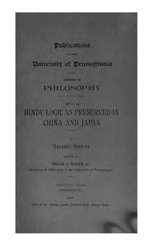 Hindu logic as preserved in China and Japan by Sadajiro Sugiura
