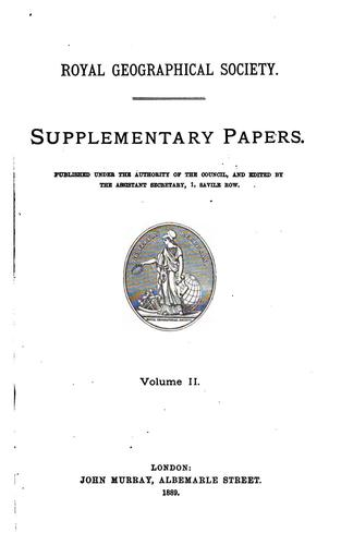 Supplementary papers by Royal geographical society, London