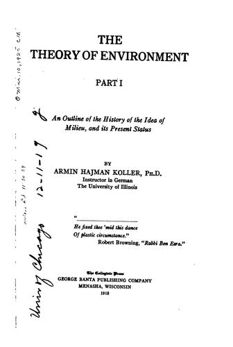 The theory of environment by Armin Hajman Koller