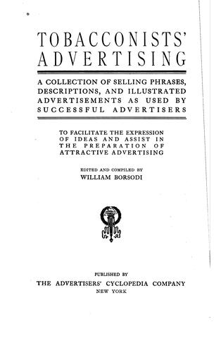 Tobacconists' advertising by Borsodi, William