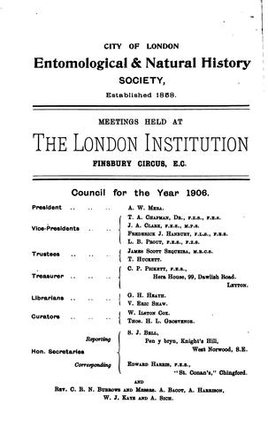 Transactions of the City of London entomological and natural history society by City of London entomological and natural history society