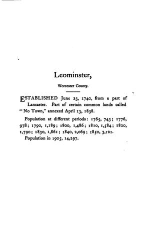 Vital records of Leominster, Massachusetts, to the end of the year 1849 by Mass Leominster