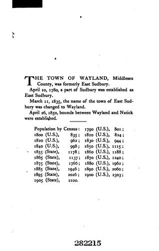 Vital records of Wayland, Massachusetts, to the year 1850 by Wayland, Mass