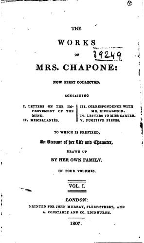 The works of Mrs. Chapone by Mrs. Hester (Mulso) Chapone