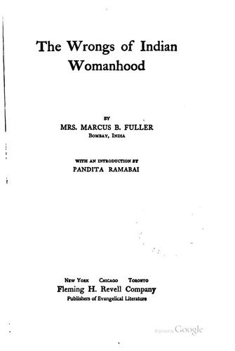 The wrongs of Indian womanhood by Jenny Fuller