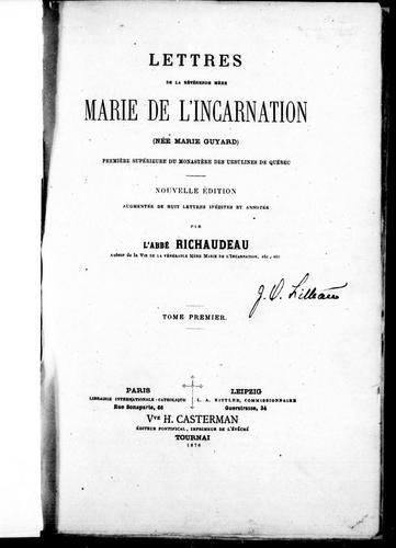 Lettres de la révérende mère Marie de l'Incarnation (née Marie Guyard)
