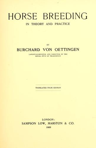 Horse breeding by Burchard von Oettingen