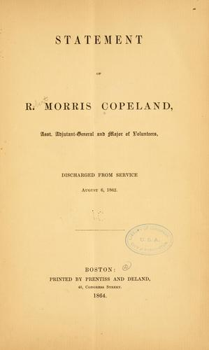 Statement of R. Morris Copeland by R[obert] Morris Copeland