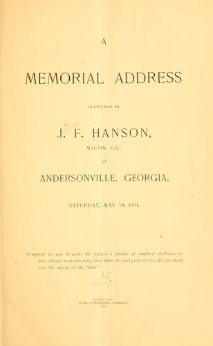 A memorial address by J. F. Hanson