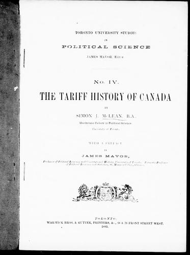 The tariff history of Canada by McLean, Simon J.