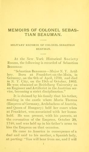 Memoirs of Colonel Sebastian Beauman and his descendants by Fairchild, Mary Christina (Doll) Mrs