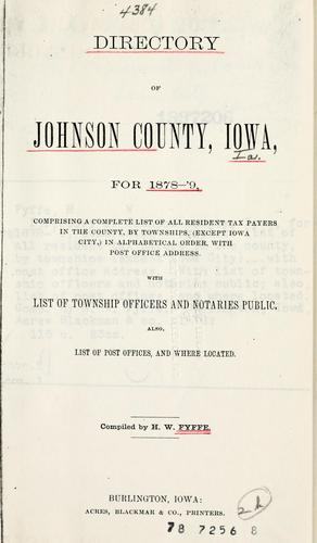 Directory of Johnson County, Iowa, for 1878-79 by H. W. Fyffe
