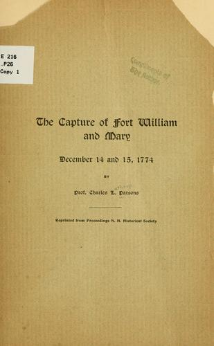 The capture of Fort William and Mary by Charles Lathrop Parsons