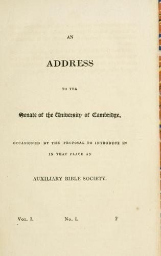 An address to the Senate of the University of Cambridge by Herbert Marsh