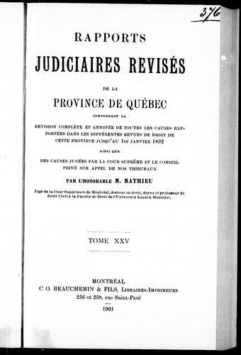 Rapports judiciaires révisés de la province de Québec