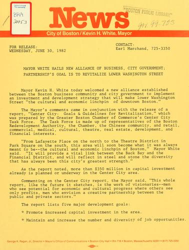 News release dated June 30, 1982 by Boston Mayor.